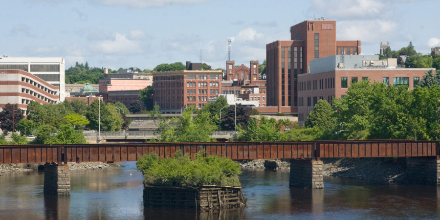 Railroad and downtown Bangor, Maine